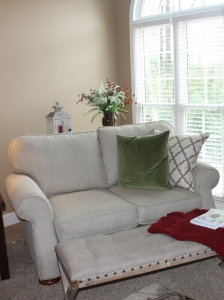 living room love seat with ottoman and pillows