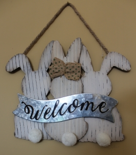 "Easter ""Welcome"" sign with bunnies"
