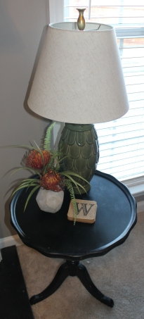 Moss Green Lamp Base and Orange Floral Arrangement from At Home