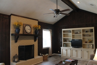 family room staged with furniture and accessories